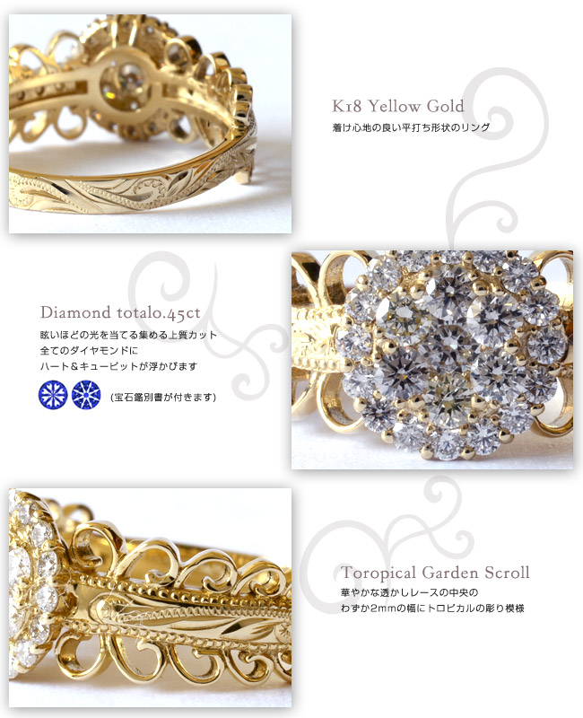 ダイヤモンド リング 指輪 ハワイアンジュエリーレディース 女性 (weliana) (K18 ゴールド 18金) PUA NANA LA 向日葵 ダイヤモンド リング イエローゴールド wri1402