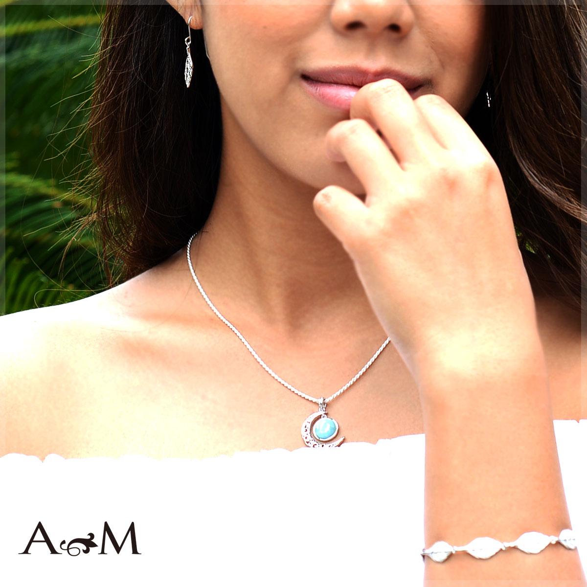 ハワイアンジュエリー アクセサリー レディース 女性 メンズ 男性  ラリマーハーフムーンペンダント ラリマー シルバー 925 ペンダント ネックレス bpd1483