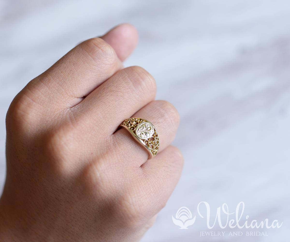 ハワイアンジュエリー リング 指輪 K14ゴールド 14金 レディース 女性 メンズ 男性(Weliana) 透かしオーバルトップリング グロリアス 新作