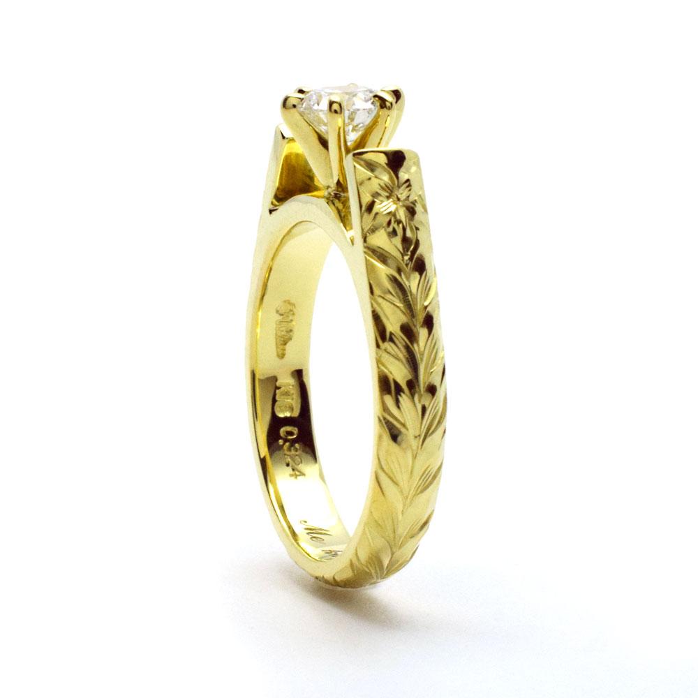 エンゲージリング 結婚指輪 婚約指輪 ハワイアンジュエリー リング レディース フレンチマウント ウェディング ダイヤモンド リング (幅3.5mm) lgr004a