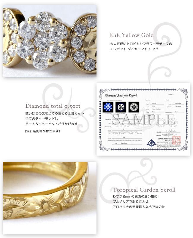 ダイヤモンド リング 指輪 ハワイアンジュエリーレディース 女性 (weliana) (K18 ゴールド 18金) トロピカルフラワー ダイヤモンド リング イエローゴールド wri1401