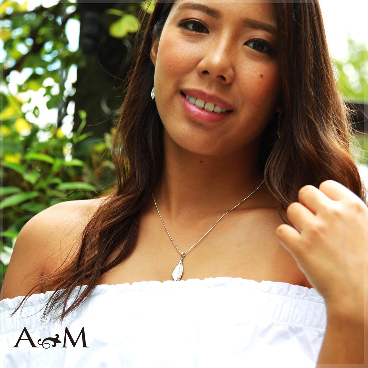 ハワイアンジュエリー アクセサリー レディース 女性 メンズ 男性 リーフシェイプシルバーネックレス シルバー 925 ペンダント ネックレス bpd1472