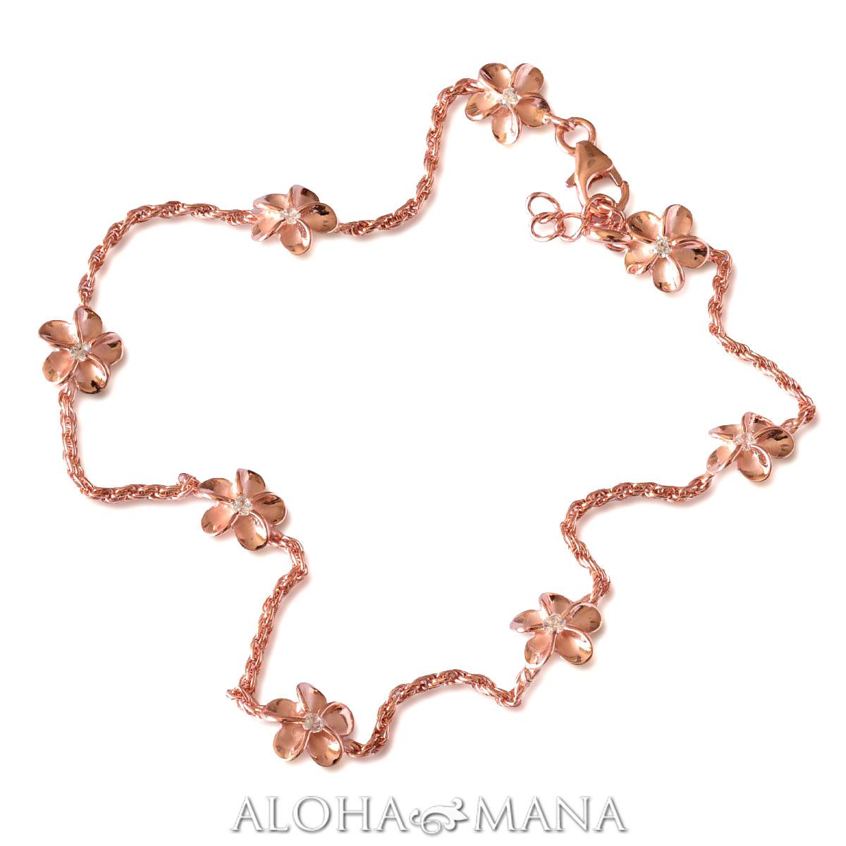 ハワイアンジュエリー アンクレット プルメリアチェーン  SILVER925 ピンクゴールドCzアンクレット bbr1565/新作