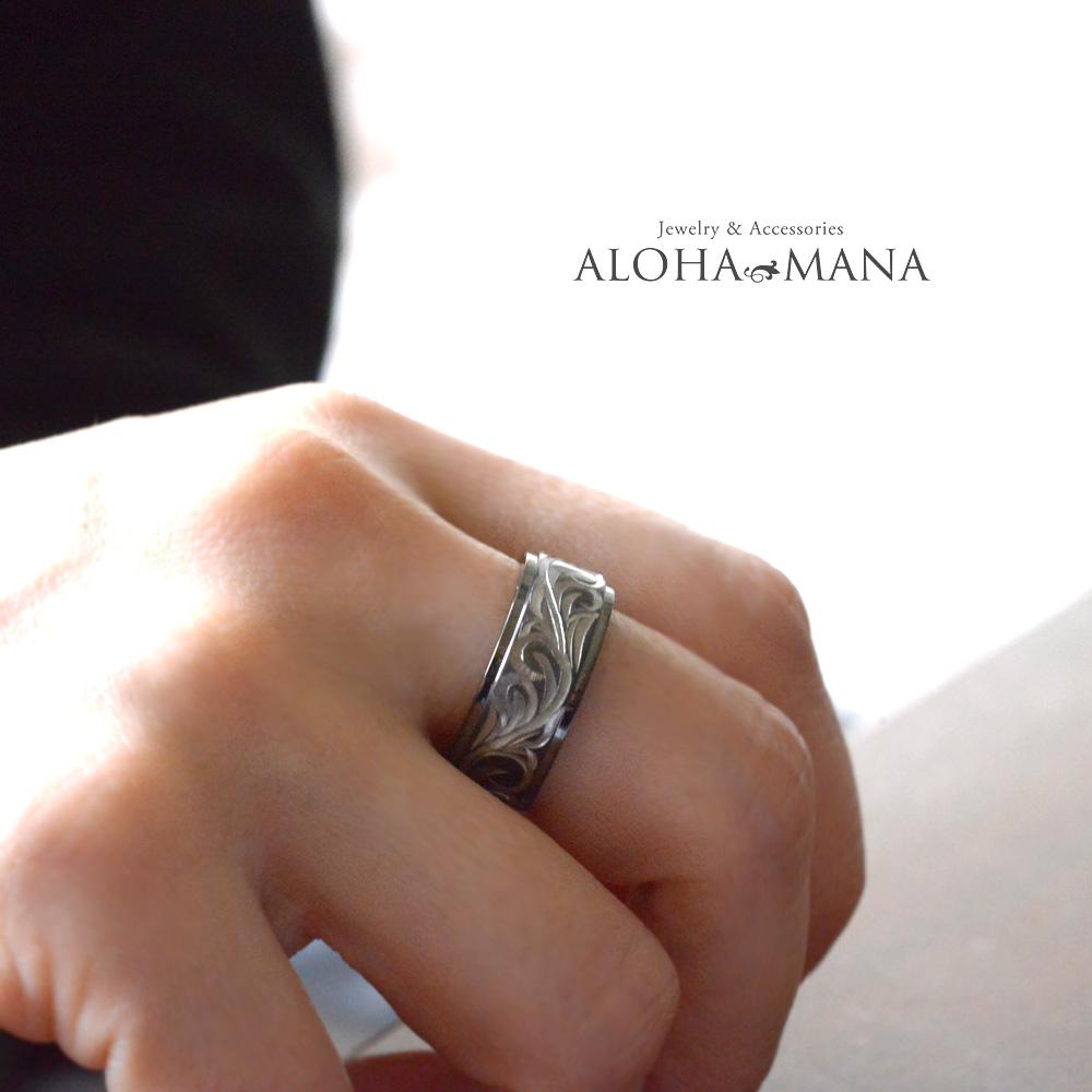 ハワイアンジュエリー ペアリング 指輪 ペアアクセサリー レディース 女性 メンズ 男性  ブラックチタン ダブルトーン ブラックxシルバー  手彫り スクロール リング bri1370/ プレゼント ギフト
