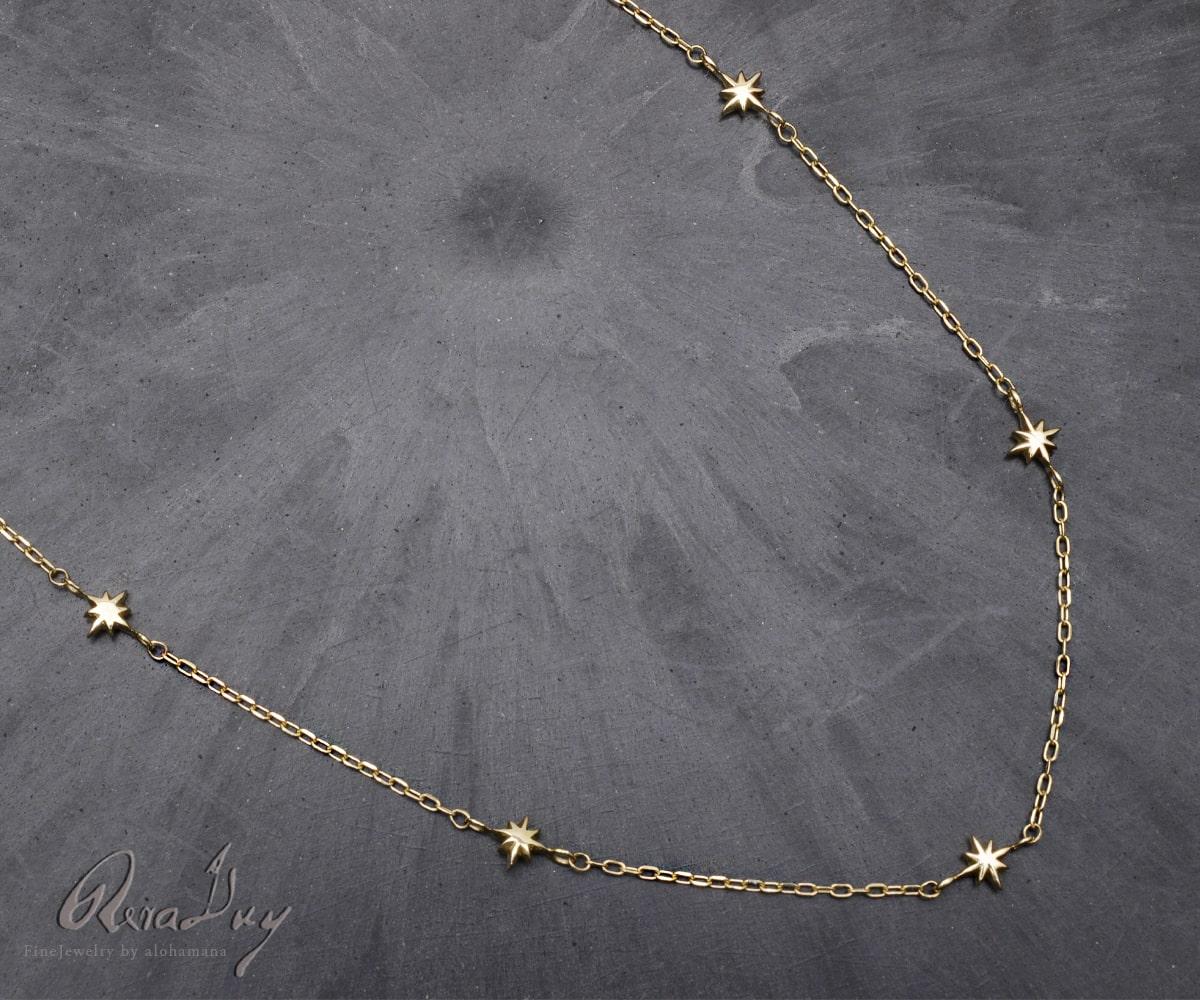 k10ネックレス ゴールドネックレス (RERALUy)ネックレス レディース アクセサリー 10金 K10 イエローゴールド ステーション スター チョーカー ネックレス 40cm rne1641 新作