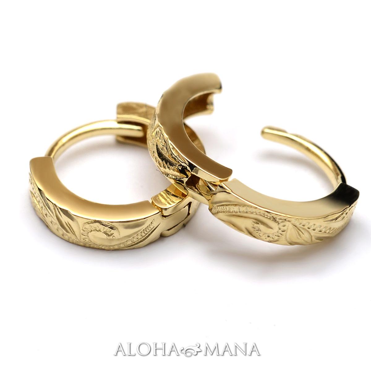 ハワイアンジュエリー ピアス K10ゴールド スクロール ソリッド フープピアス ape1263a