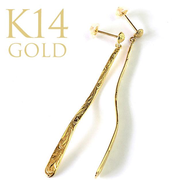 フローイング バー スイング ポスト ピアス (K14 ゴールド 14金) イエローゴールド ape1418