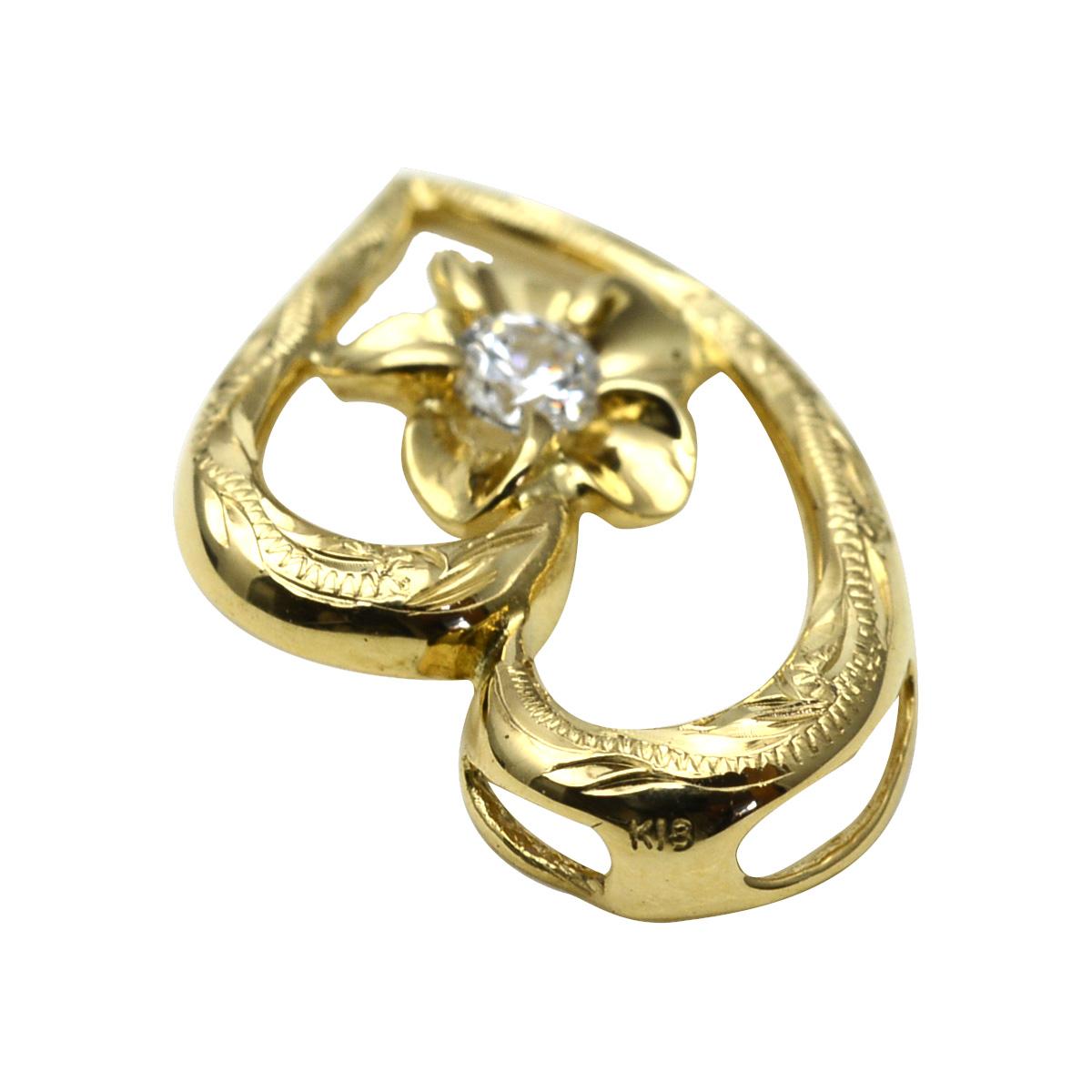 K10 ハワイアンジュエリー ネックレス GOLD オープンハート プルメリア ダイヤモンド ペンダントトップ ※付属チェーンなし apd1196ac