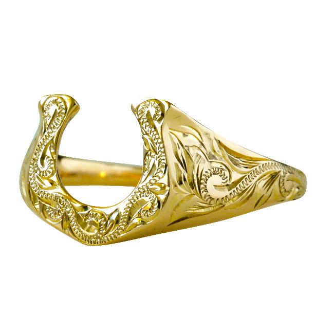 ハワイアンジュエリー アクセサリー レディース ホースシュー 馬蹄  蹄 スクロール ゴールドリング K10 ホワイトゴールド 10金 ari1370a