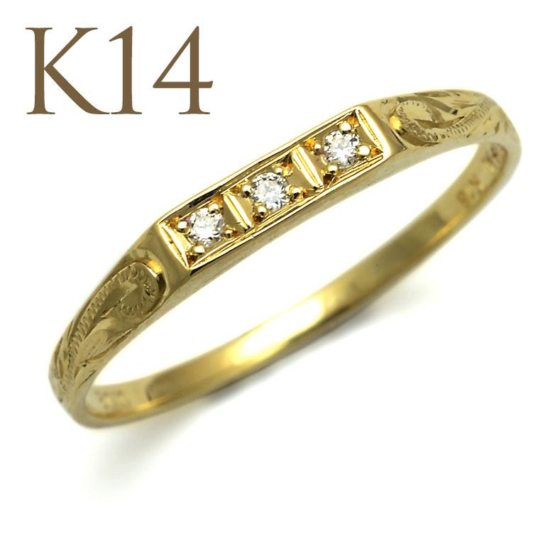 ダイヤモンド リング ハワイアンジュエリー アクセサリー レディース K14 ゴールド 3ダイヤモンド スクロール ゴールドリング イエローゴールド (14金 K14) ari1147