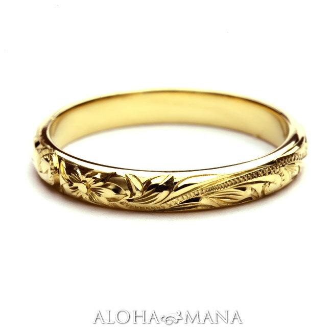 ハワイアンジュエリー  結婚指輪 シングルトーン バレル ゴールドリング cdr001mili  (幅3mm)