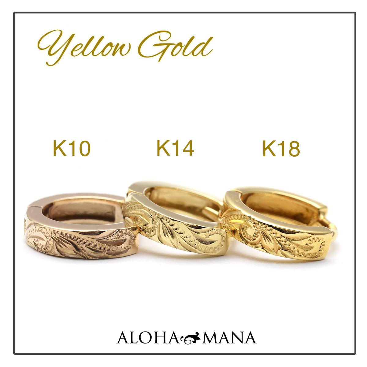ハワイアンジュエリー ピアス K14ホワイトゴールド スクロール ソリッド フープピアス ape1263ad