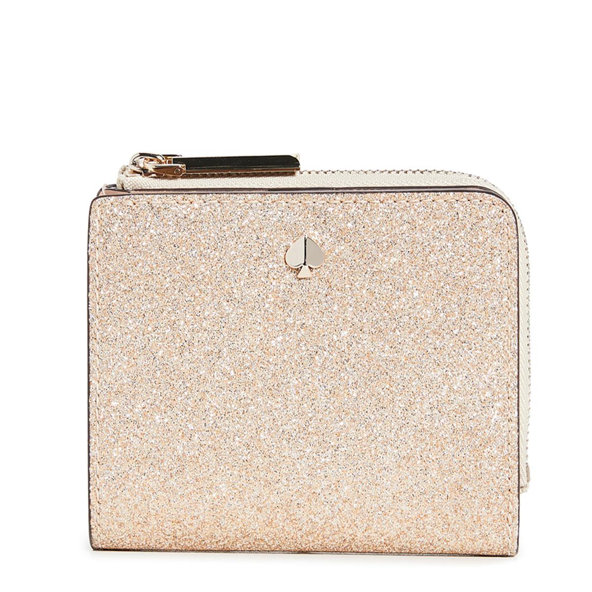 ケイトスペード 財布 二つ折り財布 ミニ財布 折財布 グリッター ゴールド レディース ブランド KATE SPADE NEW YORK