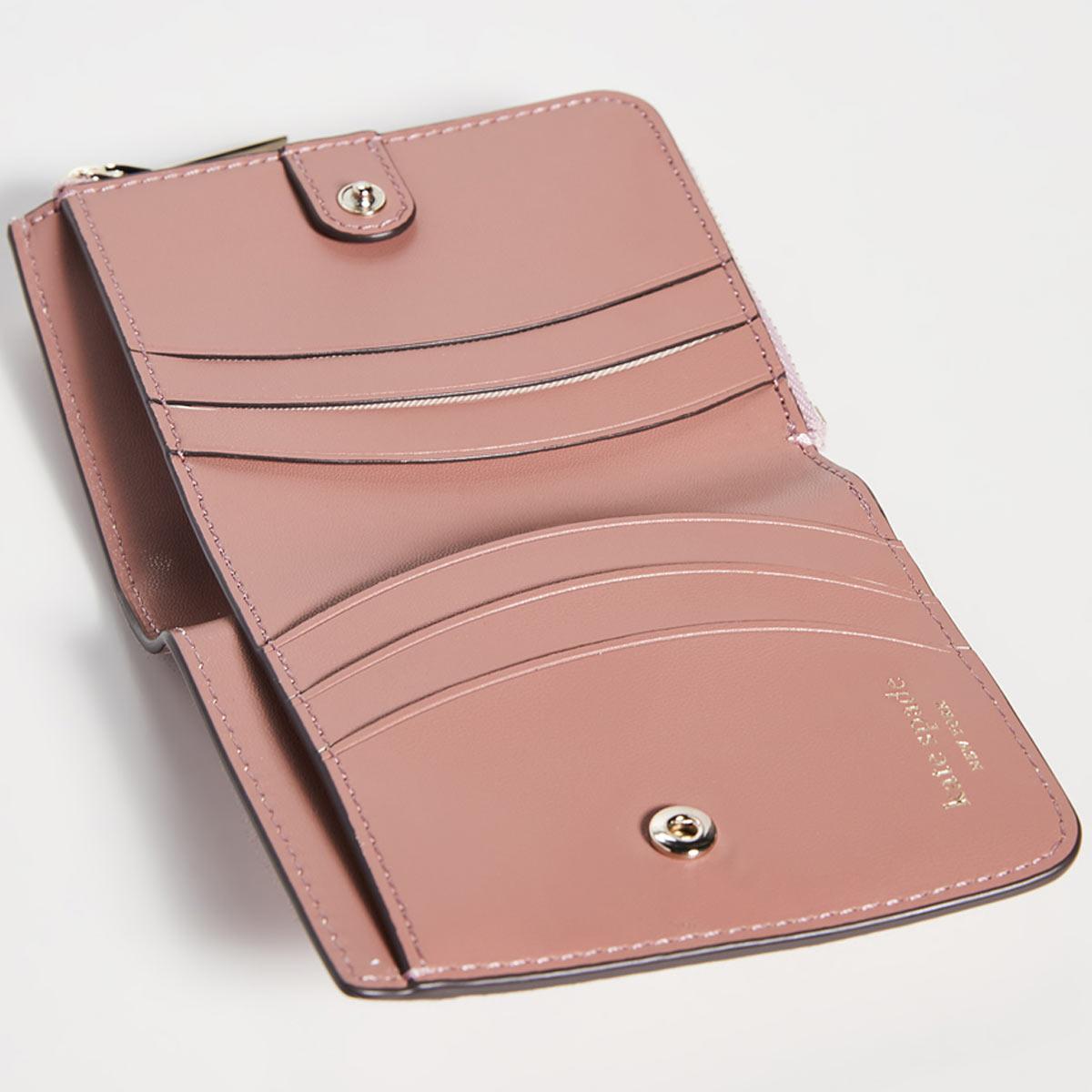 ケイトスペード 財布 二つ折り財布 ミニ財布 折財布 ピンク グリッター レディース ブランド KATE SPADE NEW YORK