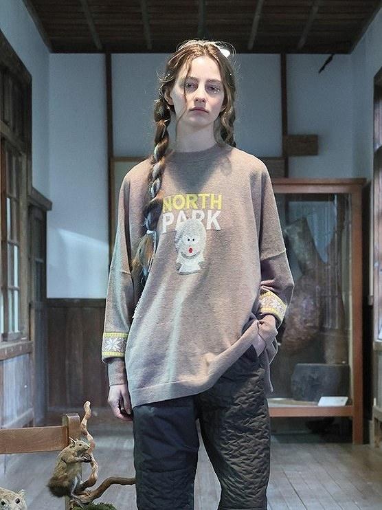 【先行受注】【BEDSIDEDRAMAベッドサイドドラマ】 NORTH PARK Knit Sweater bsd21AW-19(2色)