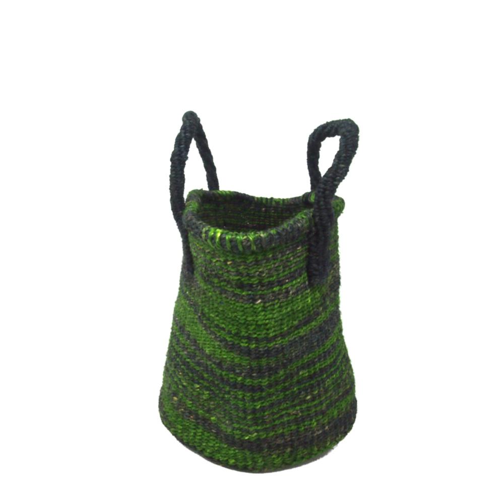 サイザルバッグ Sサイズ マーブル ブラック・ライトグリーン