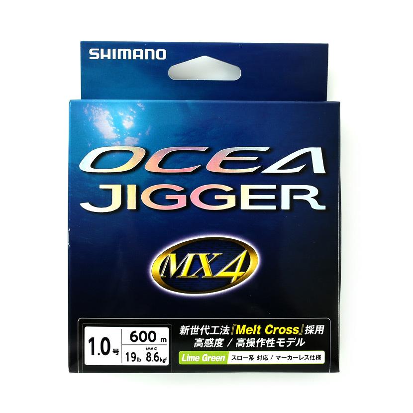 SHIMANO シマノ<br>OCEA JIGGER MX4 PE PL-094P Lime Green<br>オシアジガー PEライン 1.0号 (19lb 8.6kgf)<br>600m ライムグリーン<br>スロー系 対応 / マーカーレス仕様