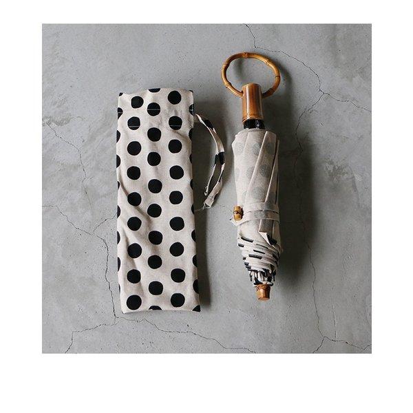 SURMER シュールメール 綿麻キャンバス水玉(小) プリント 晴雨兼用折りたたみ傘 レディース 2020SS 送料無料 日本製 ナチュラル ブラック