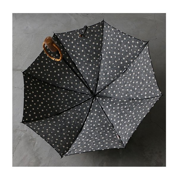 SURMER シュールメール 綿麻シーチング水玉プリント 晴雨兼用折りたたみ傘 レディース 2020SS 送料無料 日本製 グレー ブラック