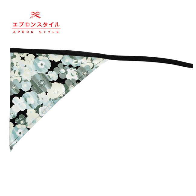 【ジュニア120〜140cm】ブラックフラワーガールズワンピースフレアーエプロン 三角巾付 /SGFR-J49