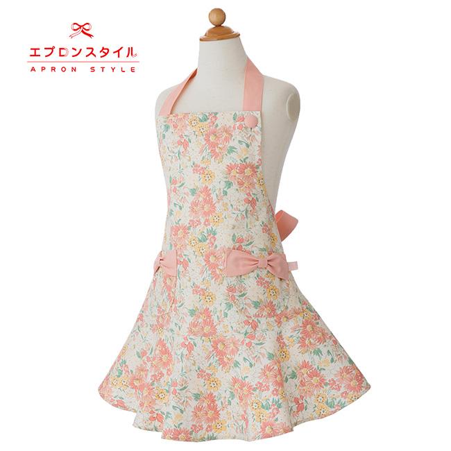 【キッズ】ピンクマーガレットガールズワンピースフレアーキッズSGFR-K29(三角巾付き)