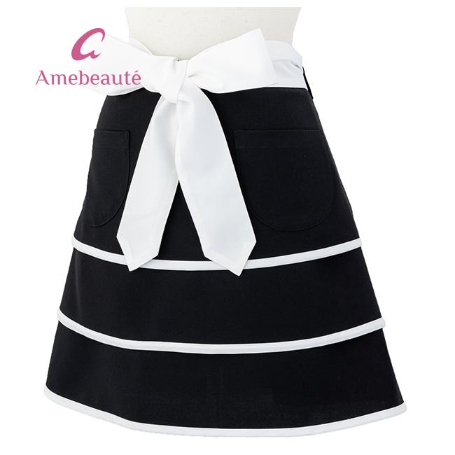 ブラック&ピュアホワイトティアードフレアーサロンエプロン ATSL05