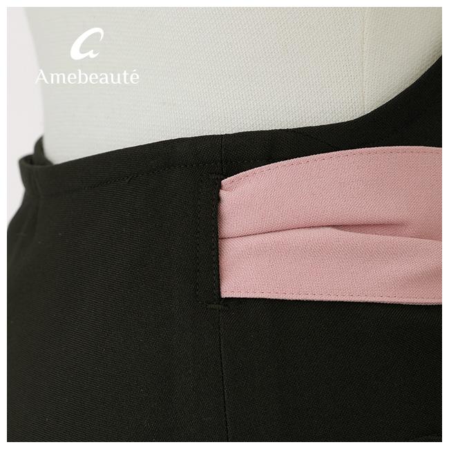 【Mサイズ/Lサイズ】ブラック&ロータスピンクティアードフレアーエプロン ATFR39