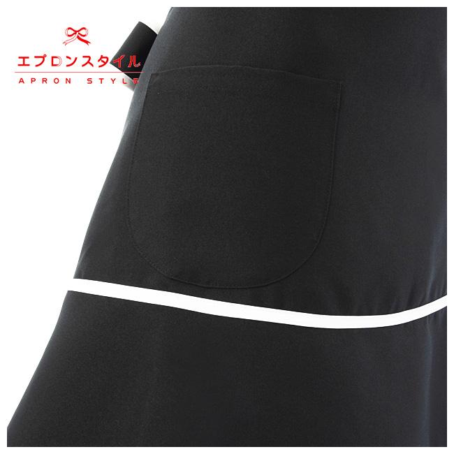 撥水ブラック&ホワイトラインスイートティアードエプロン STH01