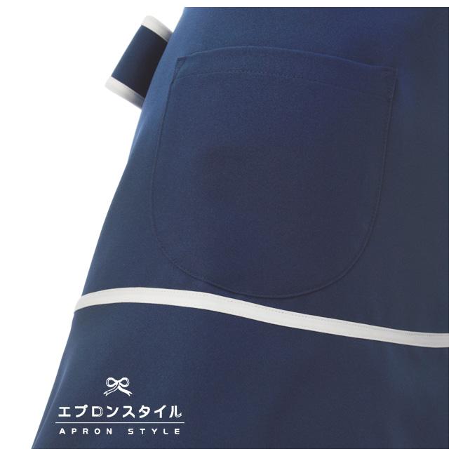 撥水ブルー&ホワイトラインスイートティアードエプロン STH03