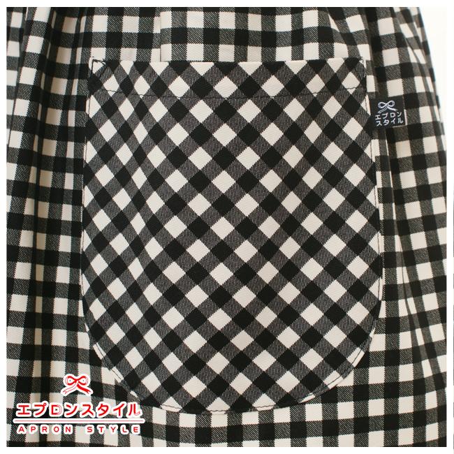 黒チェックラインリボンガールズエプロンドレス SRDX01