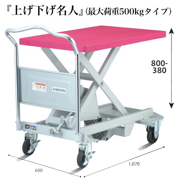 スプリング式レベラー台車・『上げ下げ名人』 【150kgタイプ/250kgタイプ/500kgタイプ】