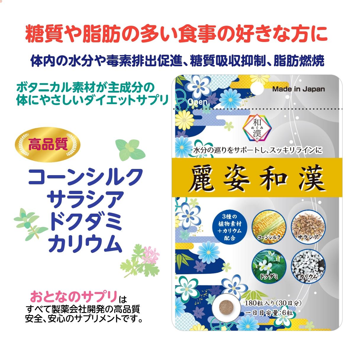 ダイエットサプリ 和漢のめぐみ 麗姿和漢  糖質 脂質 便秘 むくみ  水分の巡りをサポート 30日分