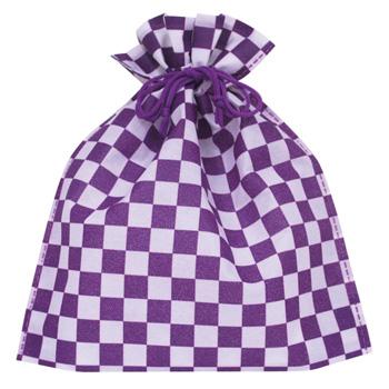 不織布和風柄巾着 市松柄バイオレット【入数1000枚】