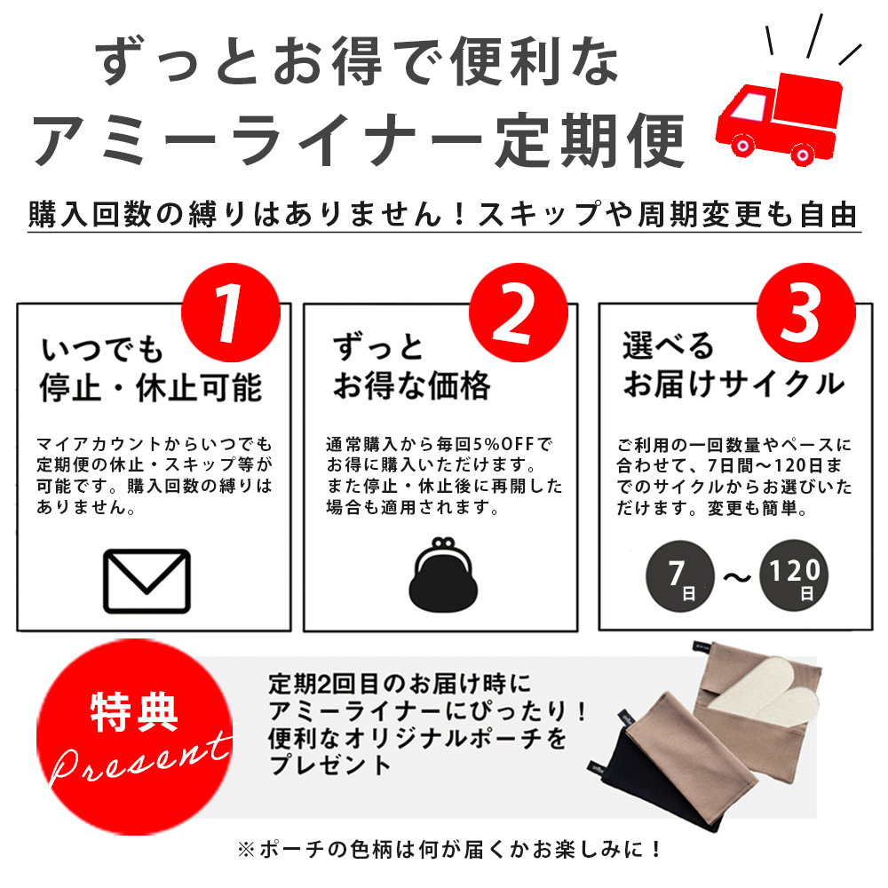 【5%OFF】アミーライナー定期便 (布製)使い捨ておりものシートシート・ナプキン