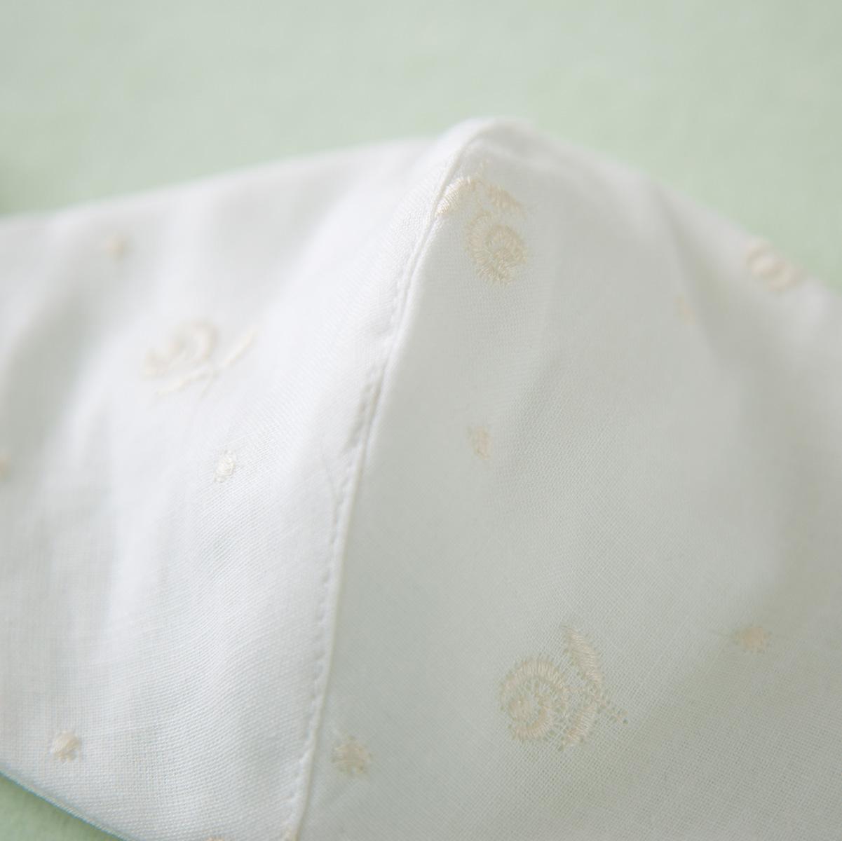 【大人用】ワイヤーなし/花柄刺しゅうガーゼマスク(オフ白) HH1674 (衛生用品)