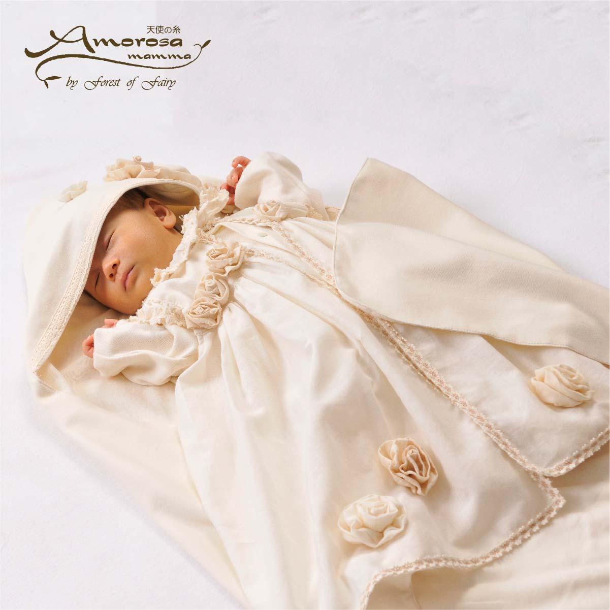 ローズのセレモニードレス3点セット AC026(ベビー服)