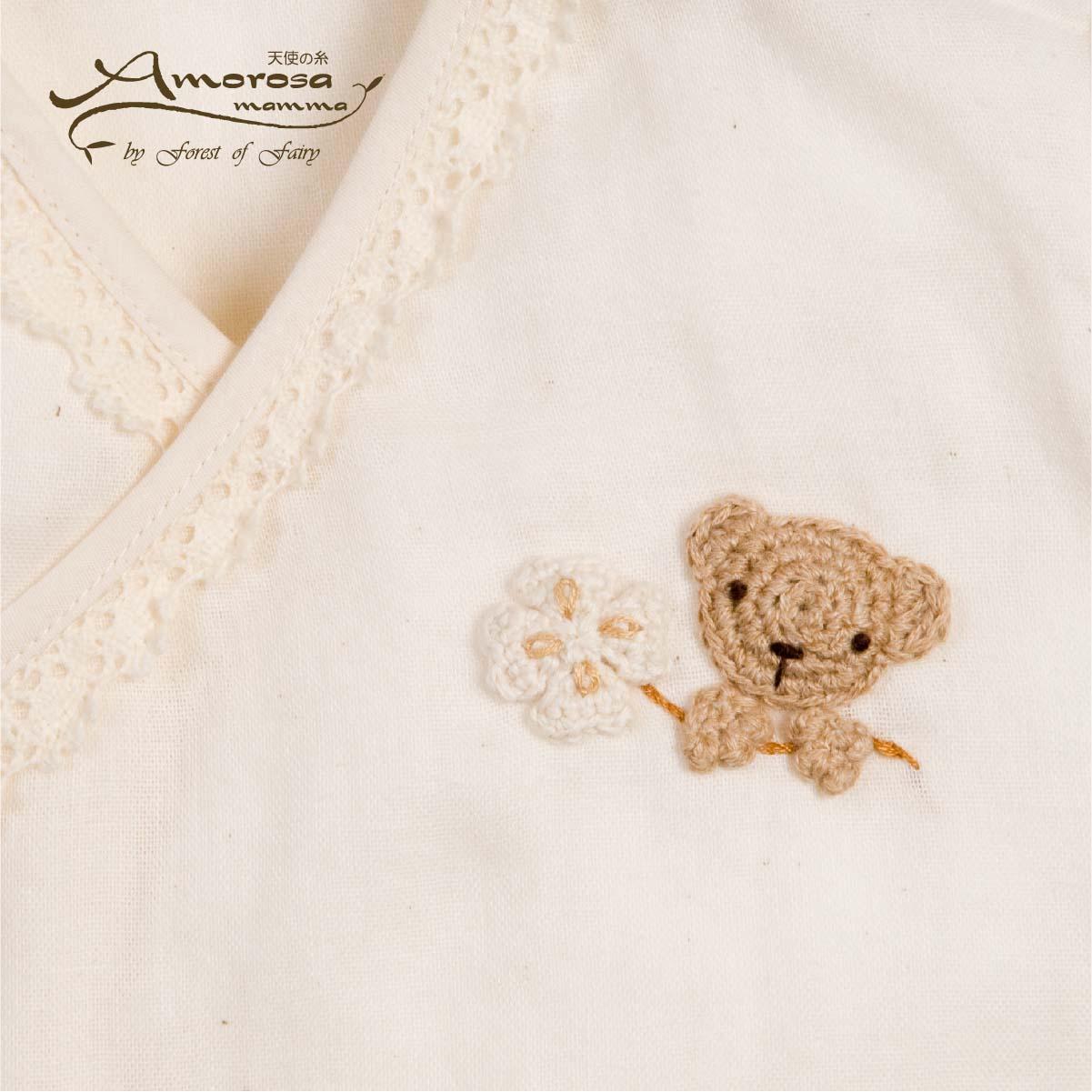 手編みモチーフのガーゼグレコ(クマ&クローバー・ウサギ&マーガレット) AH045/AH046(ベビー服)
