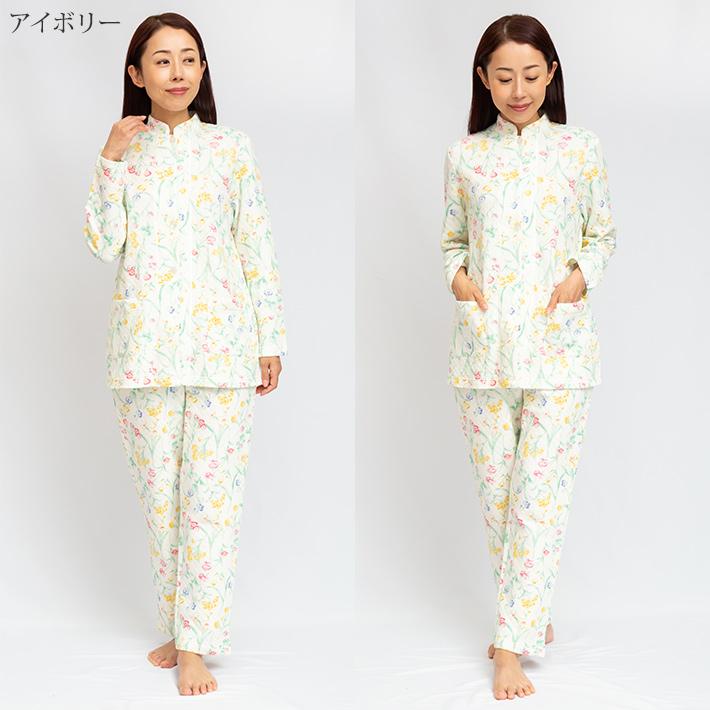 【mila schon】花柄 プリント 冬用 ニットキルト レディース パジャマ 日本製 女性用 ミラショーン 綿 ギフト