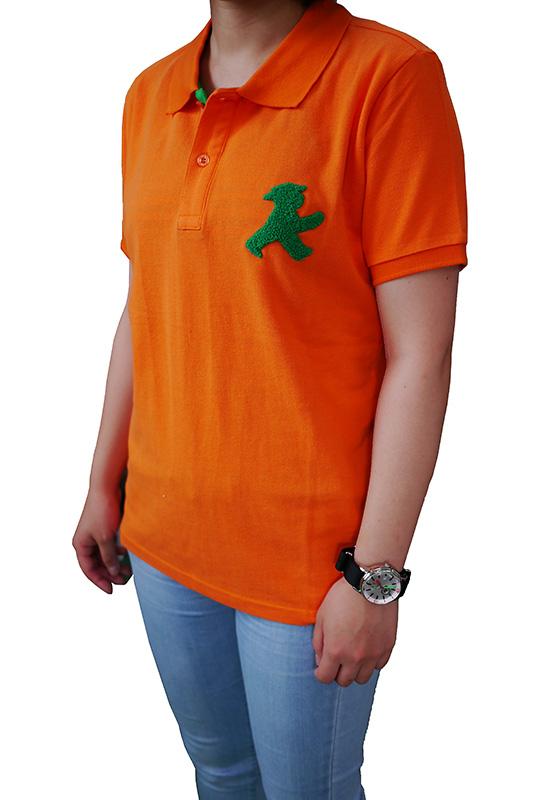 ユニセックス ポロシャツ/オレンジ もこもこGO