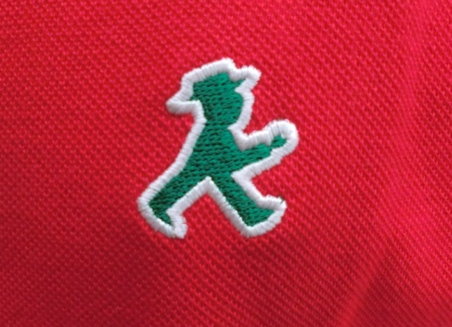 ユニセックス ポロシャツ/赤 ワンポイントGO