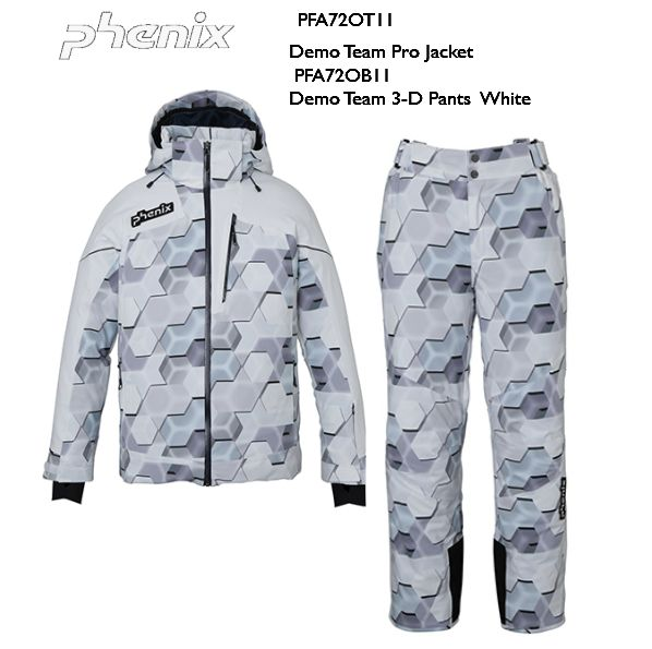 即納品 2021 Phenix Demo Team Pro Jacket Demo Team 3-D Pants White PFA72OT11 PFA72OB11 スキーウエア メンズ フェニックス 上下セット