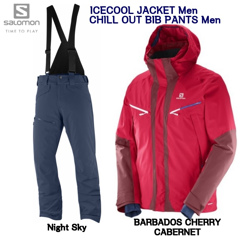 サロモン SALOMON ICECOOL JKT Mens L39717900 Barbados Cherry Cabernet+ CHILLOUT BIB PANT Mens Night Sky L40410100 サロモン スキーウェア