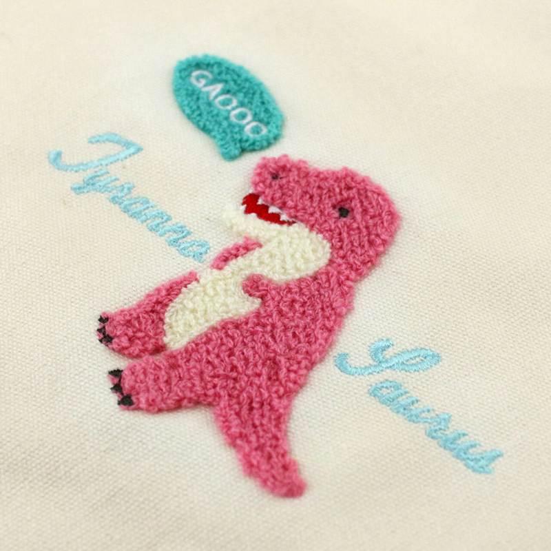 ◆サガラ刺繍トートバッグティラノサウルス/Sagara Embroidery Lunch Tote Tyrannosaurus:702420