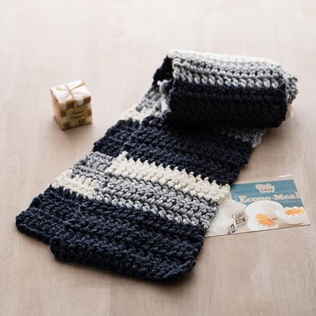 編み針付キット かぎ針 ストライプマフラー