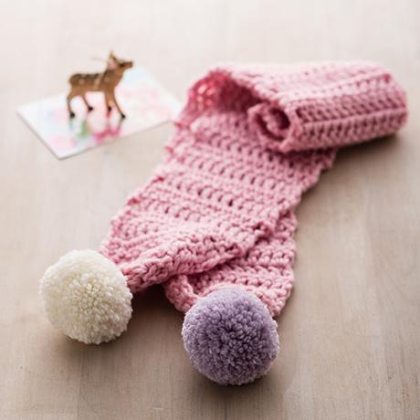 編み針付キット かぎ針 ボンボンマフラー
