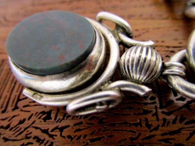 英国アンティーク アルバートチェーン&2色石 回転式フォブ 懐中時計 極太 純銀73g ビクトリア期 G.E.G社製