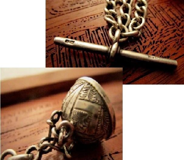 英国アンティーク シルバーダブル チェーン シールフォブ アゲート石 懐中時計 純銀エドワード期バーミンガム1905年HP社