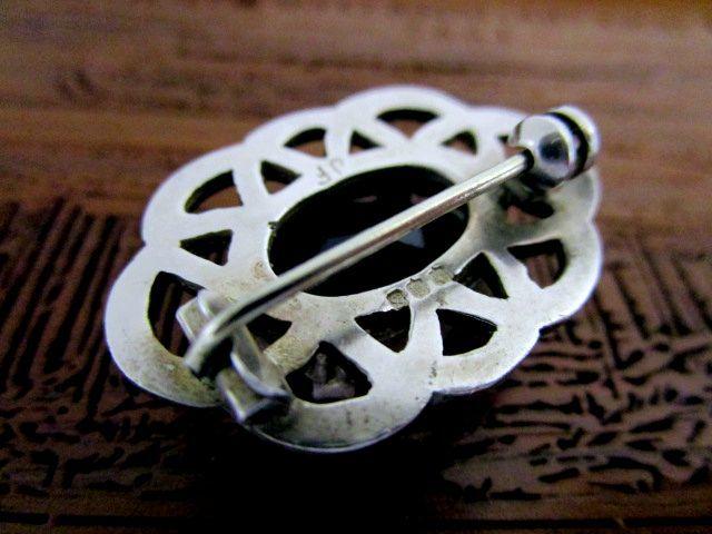英国ビンテージ シルバー925 スモーキークォーツ ブローチ ケルトノット Celtic スコティッシュ 純銀 エジンバラ1973年JF社製