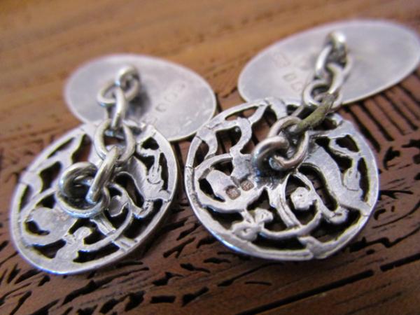 英国 ビンテージ シルバーカフス/チェーン 純銀 ヴァイキング ドラゴン スコットランド エジンバラ1978年