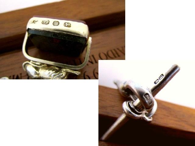 英国アンティーク チェーン 2色回転式 石付き 金彩 ライオンフォブ 懐中時計 純銀 ビクトリア期 バーミンガム1896年JC社